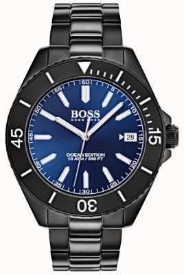Boss Bracciale ip con quadrante nero con datario blu edizione Ocean 1513559