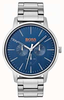 Hugo Boss Orange Bracciale in acciaio inossidabile con quadrante blu per giorno e data 1550067