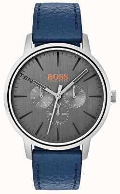 Hugo Boss Orange Quadrante grigio giorno e data sub quadrante cinturino in pelle blu 1550066