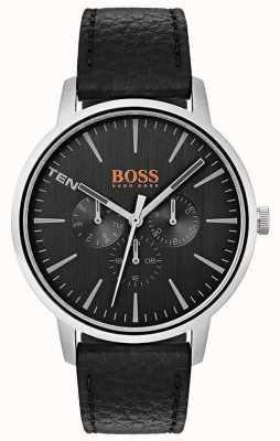 Hugo Boss Orange Quadrante nero giorno e data sub quadranti cinturino in pelle nera 1550065