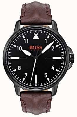 Hugo Boss Orange Cassa nera rivestita in pelle nera con cinturino in pelle marrone scuro 1550062
