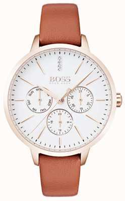 Hugo Boss Quadrante bianco con datario e datario in oro rosa con cassa in pelle marrone 1502420