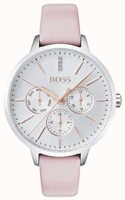 Boss Quadrante argento giorno e data con quadrante in cristallo set in pelle rosa 1502419