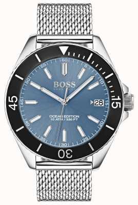 Hugo Boss Cinturino in maglia blu chiaro con quadrante nero con quadrante bianco 1513561