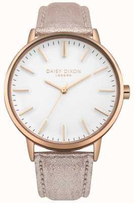 Daisy Dixon Tracolla in pelle rosa con cinturino in oro rosa con quadrante bianco per donna DD061CRG