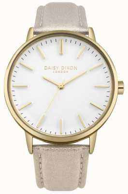 Daisy Dixon Cinturino in pelle rosa harper quadrante bianco con cinturino in oro DD061GG