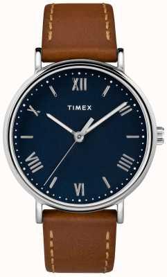 Timex Quadrante blu da uomo con cinturino in pelle marrone chiaro 41mm TW2R63900D7PF
