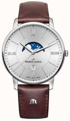 Maurice Lacroix Quadrante argentato da uomo in eliros moonphase marrone cinturino in pelle EL1108-SS001-110-1