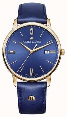 Maurice Lacroix Cinturino in pelle quadrante blu con cassa placcata oro eliros uomo EL1118-PVP01-411-1