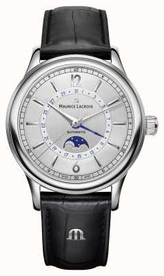 Maurice Lacroix Cinturino in pelle nera di Les classiques mens moonphase LC6168-SS001-120-1