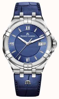 Maurice Lacroix Cinturino in pelle blu blu Aikon quadrante blu AI1008-SS001-430-1