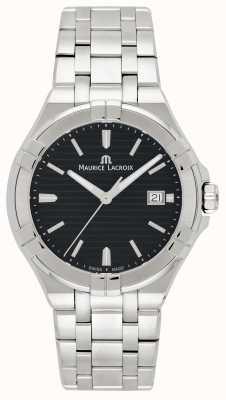 Maurice Lacroix Quadrante nero bracciale in acciaio inossidabile aikon uomo AI1008-SS002-331-1