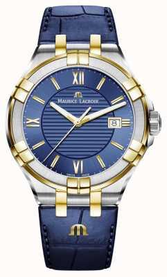 Maurice Lacroix Cinturino in pelle bicolore uomo aikon blu e oro AI1008-PVY11-432-1