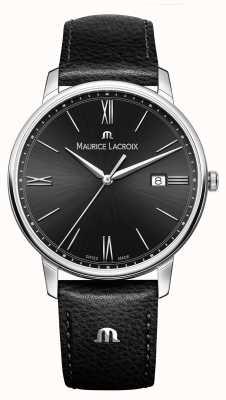 Maurice Lacroix Quadrante nero eliros con cinturino in pelle nera da uomo EL1118-SS001-310-1