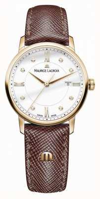 Maurice Lacroix Cassa placcata oro con cinturino in pelle marrone eliros EL1094-PVP01-150-1