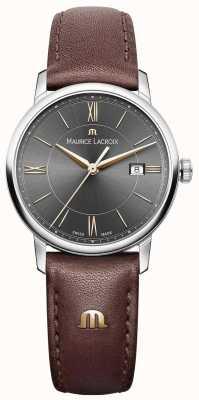 Maurice Lacroix Womens eliros cinturino in pelle marrone quadrante nero accenti dorati EL1094-SS001-311-1