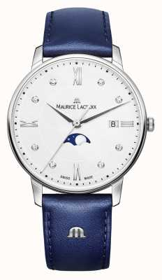 Maurice Lacroix Quadrante argentato con cinturino in pelle blu eliros moonphase EL1096-SS001-150-1