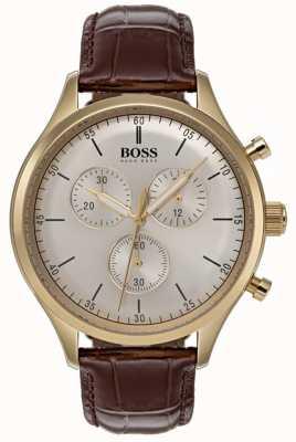 Hugo Boss Orologio da uomo cronografo da uomo con cinturino in pelle marrone 1513545