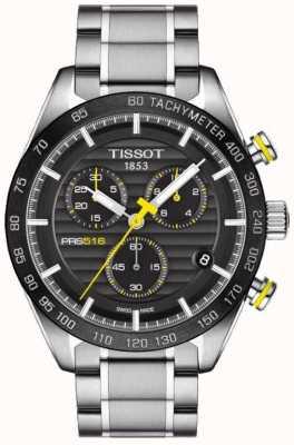 Tissot Bracciale da uomo in acciaio inossidabile con quadrante nero cronografo prs 516 T1004171105100