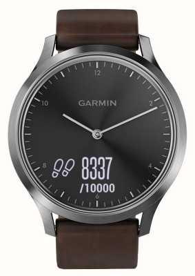 Garmin Vivomove hr (grande) inseguitore di attività premium in acciaio / pelle 010-01850-04