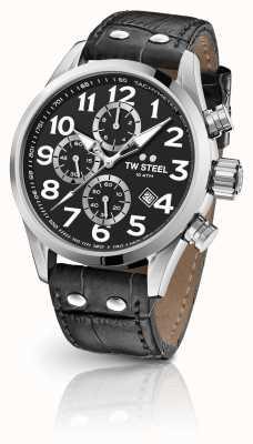 TW Steel Cinturino cronografo Volante 48mm in pelle nera VS54