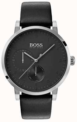 Boss Quadrante sunray con cinturino in pelle con quadrante nero per orologio da uomo 1513594