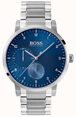 Boss Quadrante sunray per orologio da uomo in acciaio inossidabile con quadrante blu 1513597