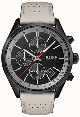 BOSS Orologio da uomo grand-prix cronografo nero cinturino in pelle grigio 1513562
