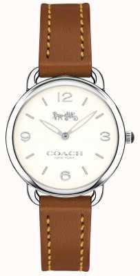Coach Quadrante bianco con cinturino in pelle marrone sottile delancey da donna 14502789