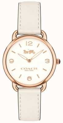 Coach Quadrante bianco con cinturino in pelle bianca sottile delancey da donna 14502790