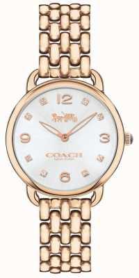 Coach Quadrante argentato per orologio da donna con sottile cinturino in tono rosa 14502783