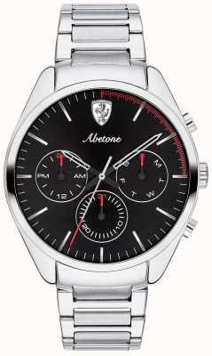 Scuderia Ferrari Orologio da uomo in argento con cinturino in acciaio inossidabile chrono nero 0830505