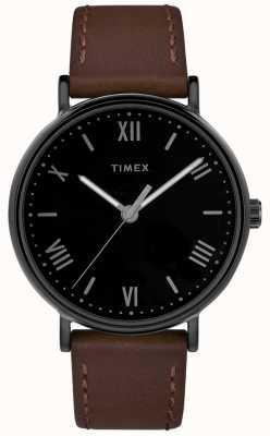 Timex Quadrante nero con cinturino in pelle marrone da 41 mm TW2R80300D7PF