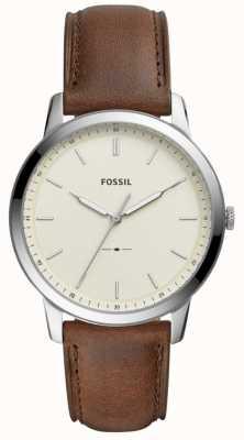 Fossil Mens l'orologio minimalista cinturino in pelle marrone FS5439