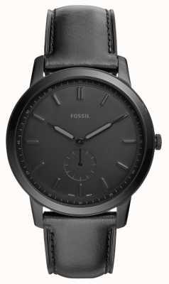 Fossil Mens l'orologio minimalista cinturino in pelle nera FS5447