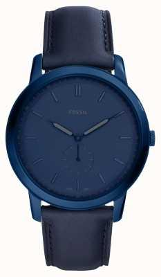 Fossil Mens l'orologio minimalista cinturino in pelle blu FS5448