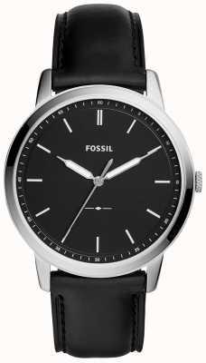 Fossil Mens l'orologio minimalista cinturino in pelle nera FS5398