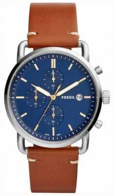 Fossil Cinturino da uomo cronografo blu cinturino in pelle marrone chiaro FS5401