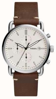 Fossil Cinturino da uomo cronografo bianco cronografo in pelle marrone FS5402