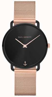 Paul Hewitt Miss unisex linea ocean ocean 32mm quadrante nero maglia in oro rosa PH-M-B-BS-4S