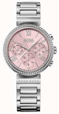 Hugo Boss Cinturino in acciaio inossidabile con castone in cristallo rosa 1502401