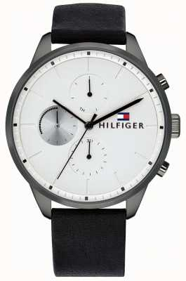 Tommy Hilfiger Cronografo da uomo con cinturino in pelle nera con cinturino in pelle 1791489