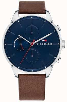 Tommy Hilfiger Cinturino cronografo da uomo con cinturino in pelle marrone cronografo 1791487