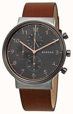Skagen Cinturino da uomo cronografo quadrante nero cinturino in pelle marrone SKW6418