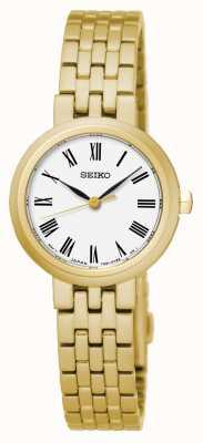 Seiko Cinturino in oro giallo con numeri romani al quarzo quadrante bianco SRZ464P1