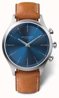Kronaby Cinturino in pelle marrone quadrante blu sekel 41mm a1000-3124 S3124/1