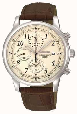 Seiko Cinturino in pelle da uomo con cronografo quadrante color crema SNDC31P1