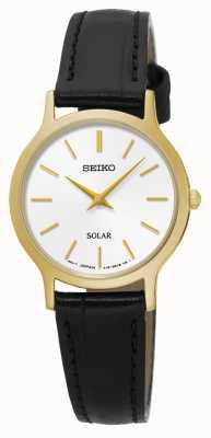 Seiko Solar quadrante bianco oro giallo acciaio inossidabile in pelle nera SUP300P1