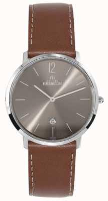 Michel Herbelin Cinturino marrone scuro con quadrante marrone scuro ikone uomo acciaio 19515/27GO