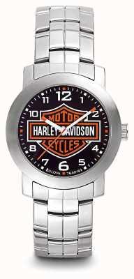 Harley Davidson Bracciale in acciaio inossidabile con quadrante con logo stampato da uomo 76A019